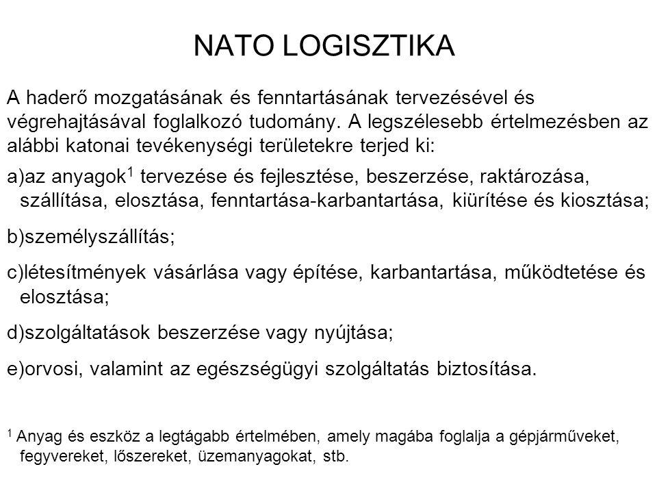 NATO LOGISZTIKA A haderő mozgatásának és fenntartásának tervezésével és végrehajtásával foglalkozó tudomány. A legszélesebb értelmezésben az alábbi ka