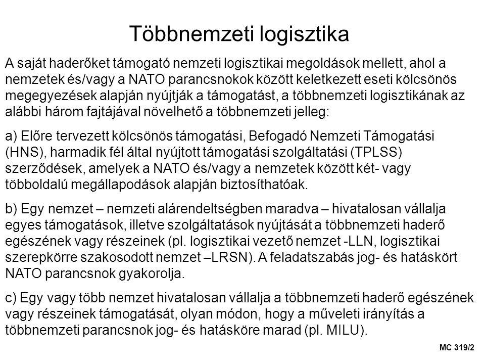 Többnemzeti logisztika A saját haderőket támogató nemzeti logisztikai megoldások mellett, ahol a nemzetek és/vagy a NATO parancsnokok között keletkeze
