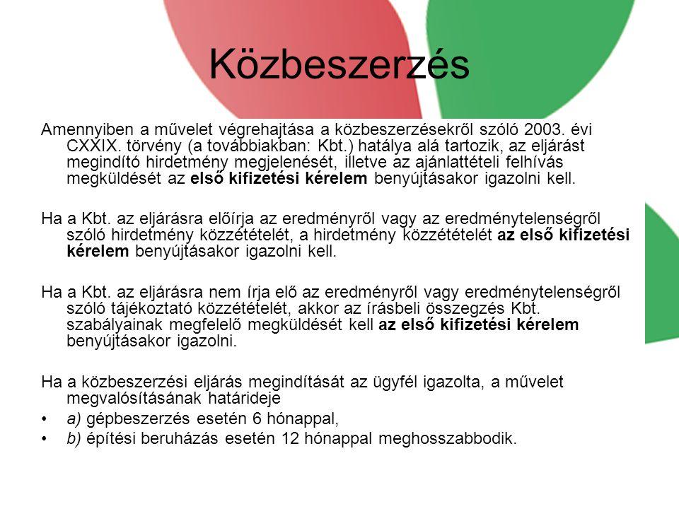 Közbeszerzés Amennyiben a művelet végrehajtása a közbeszerzésekről szóló 2003.