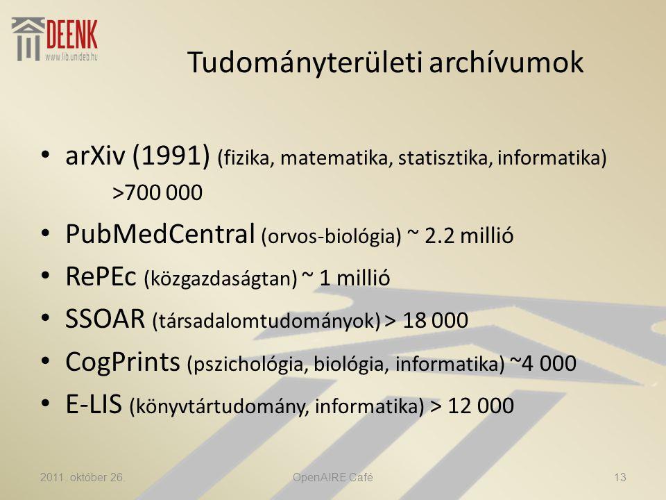 Tudományterületi archívumok • arXiv (1991) (fizika, matematika, statisztika, informatika) >700 000 • PubMedCentral (orvos-biológia) ~ 2.2 millió • RePEc (közgazdaságtan) ~ 1 millió • SSOAR (társadalomtudományok) > 18 000 • CogPrints (pszichológia, biológia, informatika) ~4 000 • E-LIS (könyvtártudomány, informatika) > 12 000 2011.