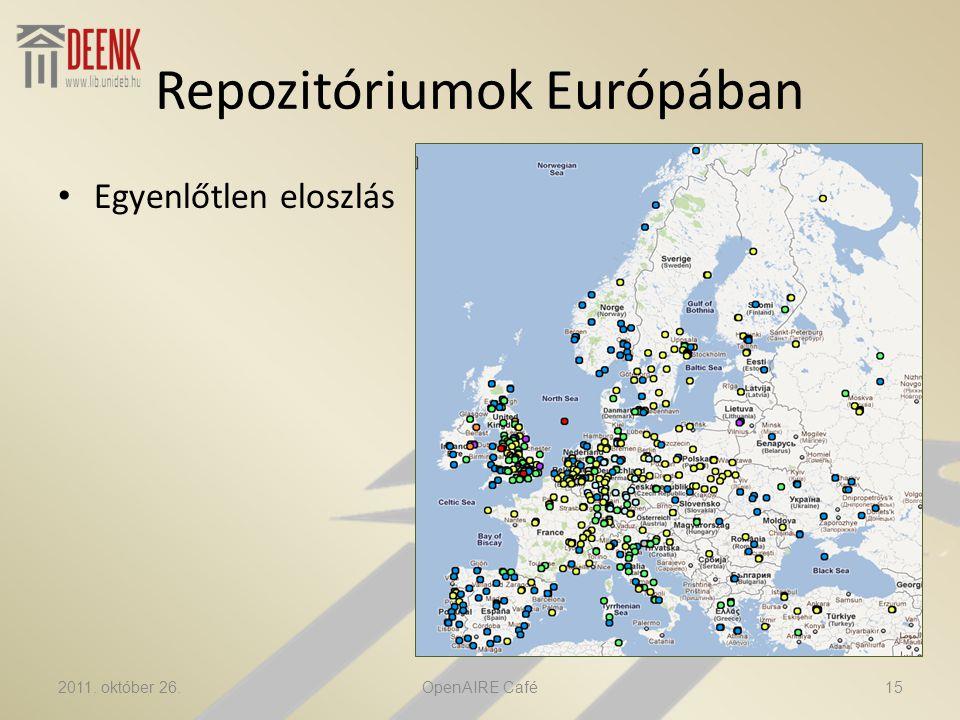 Repozitóriumok Európában • Egyenlőtlen eloszlás 2011. október 26.OpenAIRE Café15