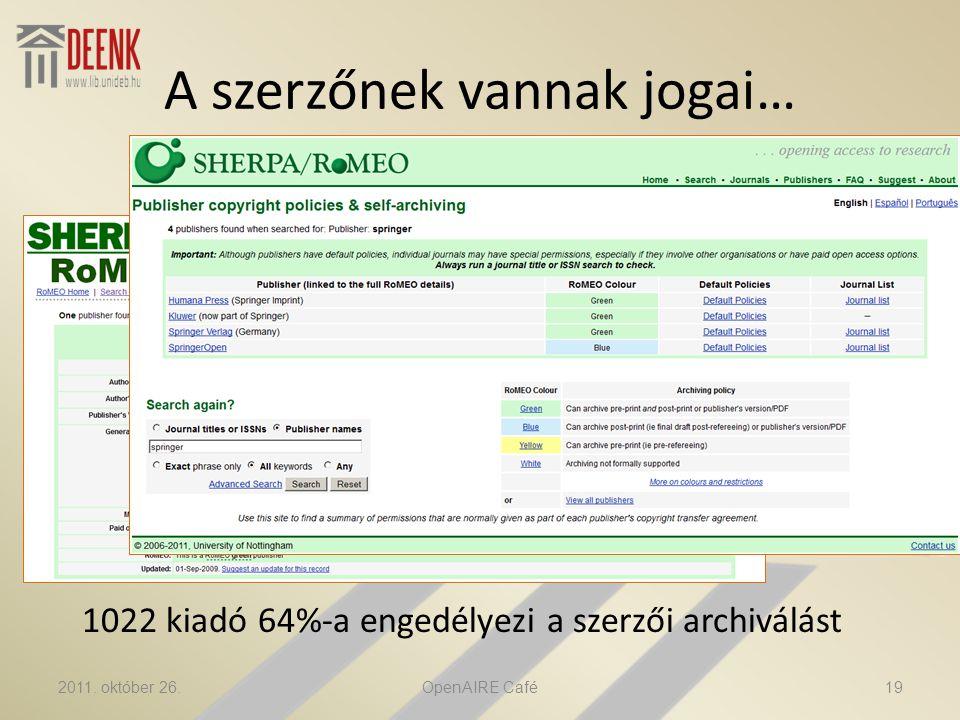 A szerzőnek vannak jogai… 1022 kiadó 64%-a engedélyezi a szerzői archiválást 2011.