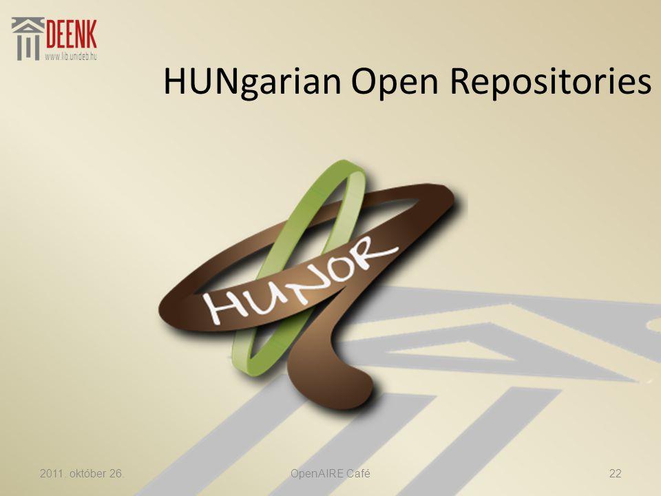 HUNgarian Open Repositories 2011. október 26.22OpenAIRE Café