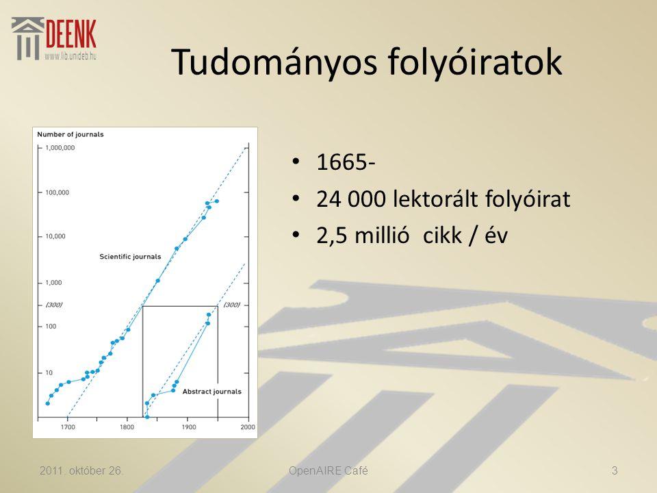 Tudományos folyóiratok • 1665- • 24 000 lektorált folyóirat • 2,5 millió cikk / év 2011.