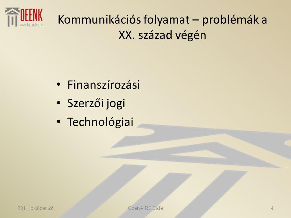 Open Access • Olcsó hozzáférés • Nagyobb hatás (idézettség) • Tudományos információcsere felgyorsítása • Saját (intézményi, személyes) kutatások láthatóvá tétele 2011.
