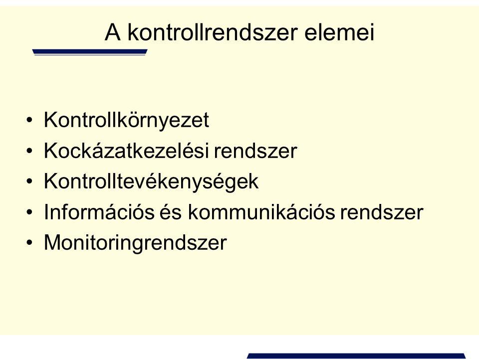 A kontrollrendszer elemei •Kontrollkörnyezet •Kockázatkezelési rendszer •Kontrolltevékenységek •Információs és kommunikációs rendszer •Monitoringrendszer