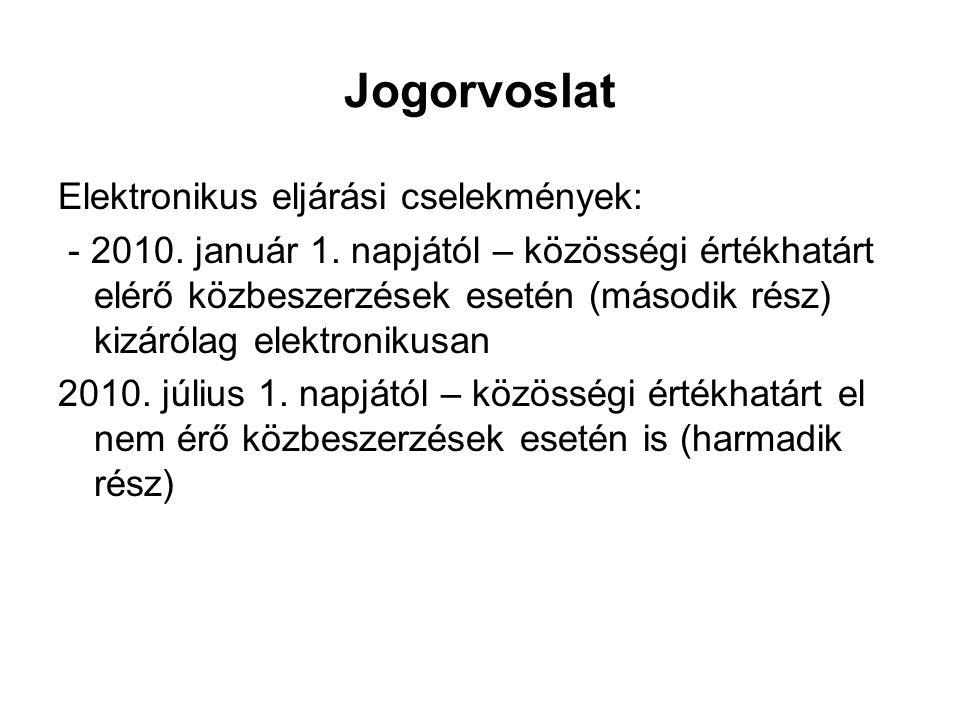 Jogorvoslat Elektronikus eljárási cselekmények: - 2010. január 1. napjától – közösségi értékhatárt elérő közbeszerzések esetén (második rész) kizáróla