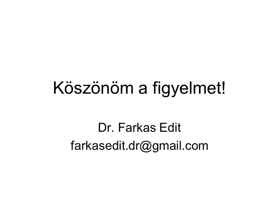 Köszönöm a figyelmet! Dr. Farkas Edit farkasedit.dr@gmail.com
