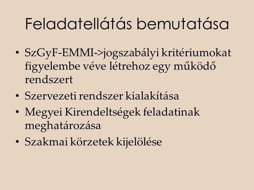 Feladatellátás bemutatása • SzGyF-EMMI->jogszabályi kritériumokat figyelembe véve létrehoz egy működő rendszert • Szervezeti rendszer kialakítása • Me