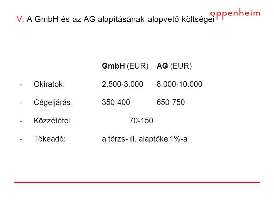 V. A GmbH és az AG alapításának alapvető költségei GmbH (EUR)AG (EUR) -Okiratok:2.500-3.0008.000-10.000 -Cégeljárás:350-400650-750 -Közzététel: 70-150