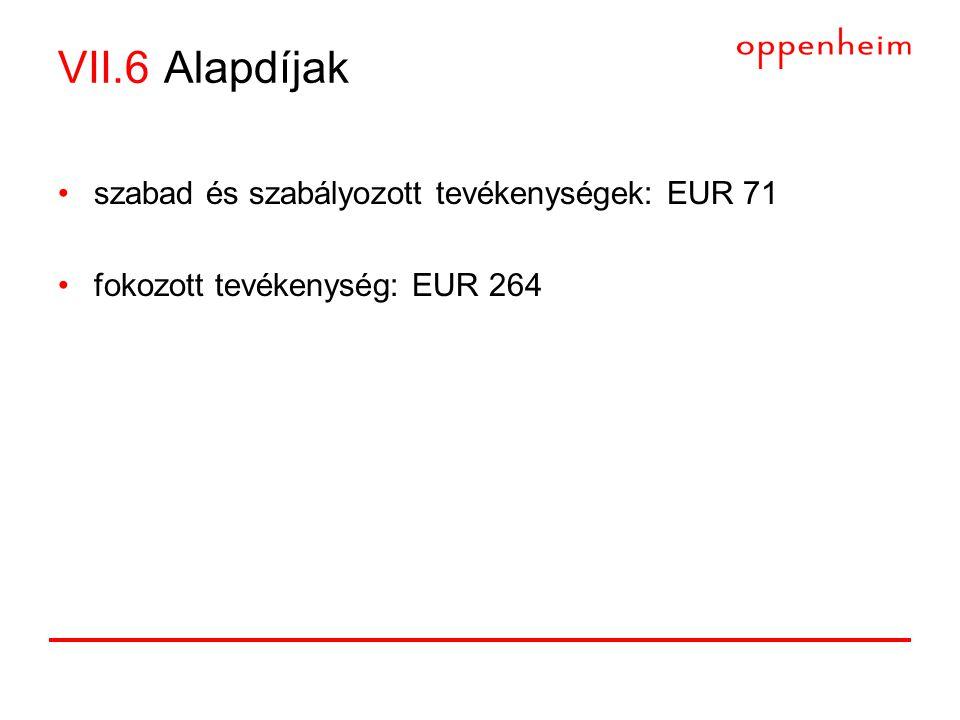 VII.6 Alapdíjak •szabad és szabályozott tevékenységek: EUR 71 •fokozott tevékenység: EUR 264