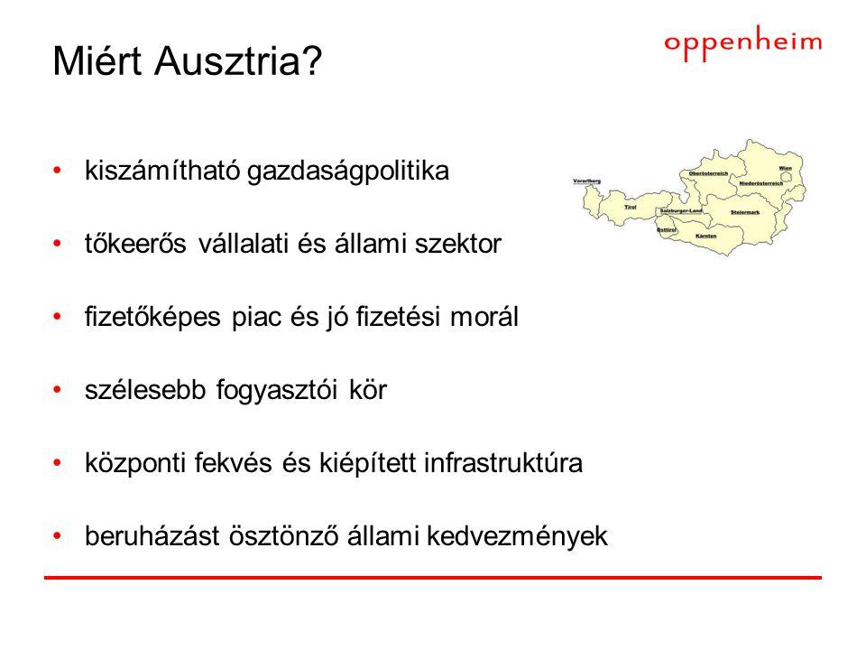 Miért Ausztria? •kiszámítható gazdaságpolitika •tőkeerős vállalati és állami szektor •fizetőképes piac és jó fizetési morál •szélesebb fogyasztói kör