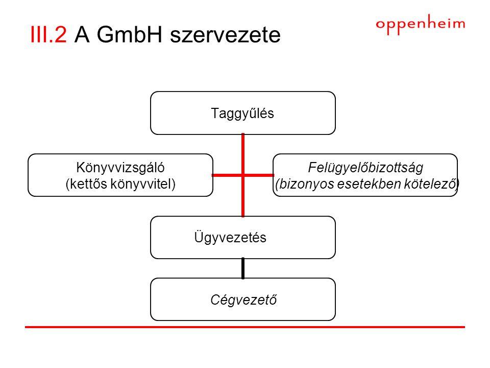 III.2 A GmbH szervezete Taggyűlés Ügyvezetés Cégvezető Könyvvizsgáló (kettős könyvvitel) Felügyelőbizottság (bizonyos esetekben kötelező)