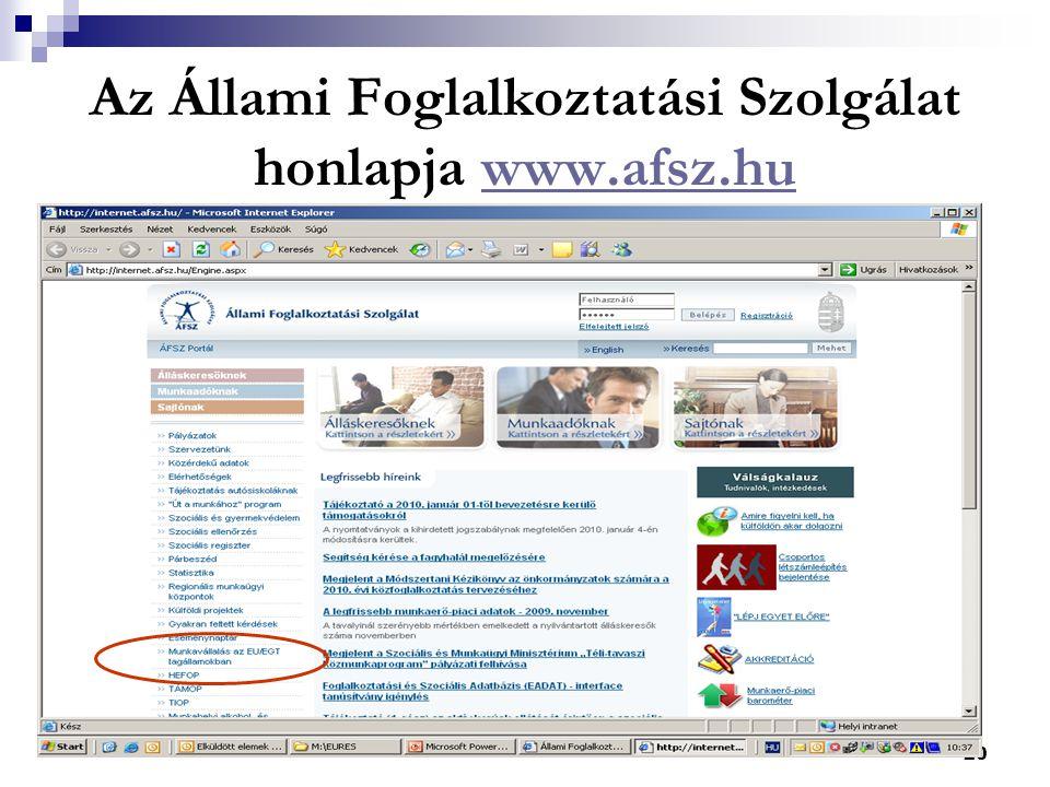 20 Az Állami Foglalkoztatási Szolgálat honlapja www.afsz.huwww.afsz.hu