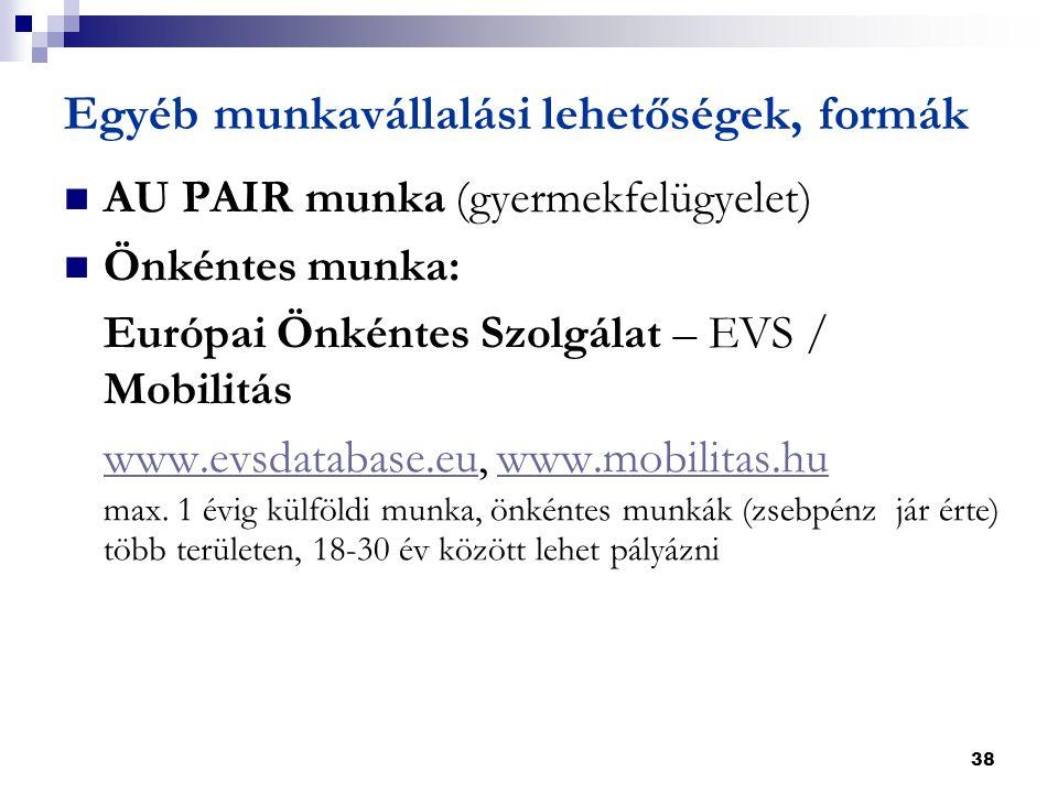 38 Egyéb munkavállalási lehetőségek, formák  AU PAIR munka (gyermekfelügyelet)  Önkéntes munka: Európai Önkéntes Szolgálat – EVS / Mobilitás www.evsdatabase.euwww.evsdatabase.eu, www.mobilitas.huwww.mobilitas.hu max.