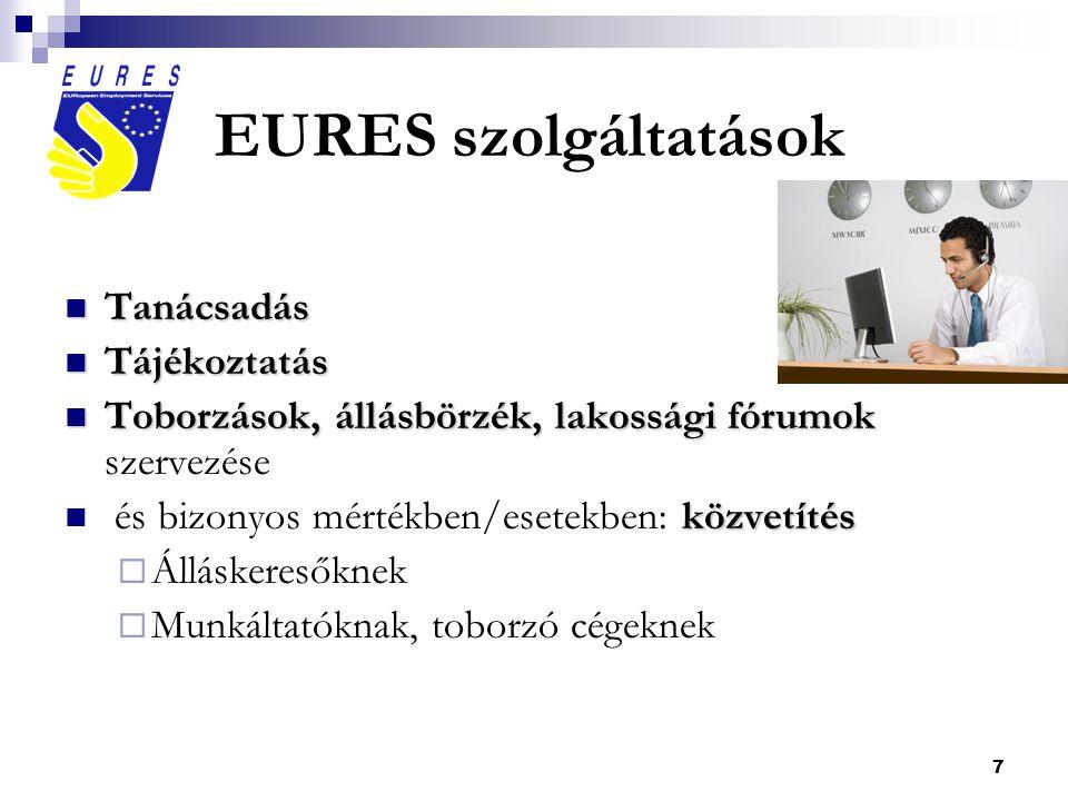 7 EURES szolgáltatások  Tanácsadás  Tájékoztatás  Toborzások, állásbörzék, lakossági fórumok  Toborzások, állásbörzék, lakossági fórumok szervezése közvetítés  és bizonyos mértékben/esetekben: közvetítés  Álláskeresőknek  Munkáltatóknak, toborzó cégeknek