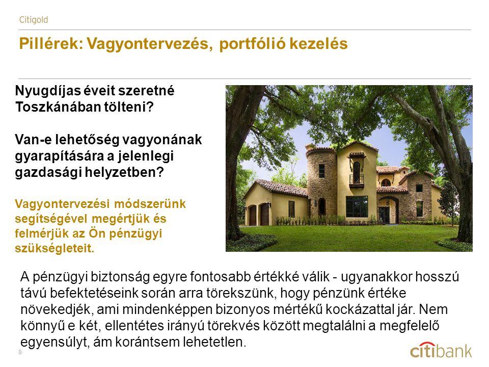 8 Pillérek: Vagyontervezés, portfólió kezelés Nyugdíjas éveit szeretné Toszkánában tölteni? Van-e lehetőség vagyonának gyarapítására a jelenlegi gazda