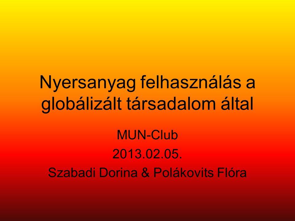Nyersanyag felhasználás a globálizált társadalom által MUN-Club 2013.02.05.