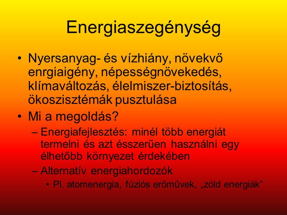 Energiaszegénység •Nyersanyag- és vízhiány, növekvő enrgiaigény, népességnövekedés, klímaváltozás, élelmiszer-biztosítás, ökoszisztémák pusztulása •Mi a megoldás.
