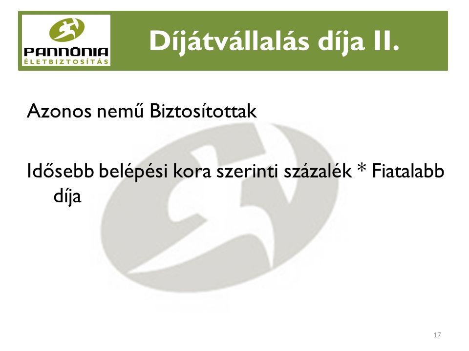 Díjátvállalás díja II.