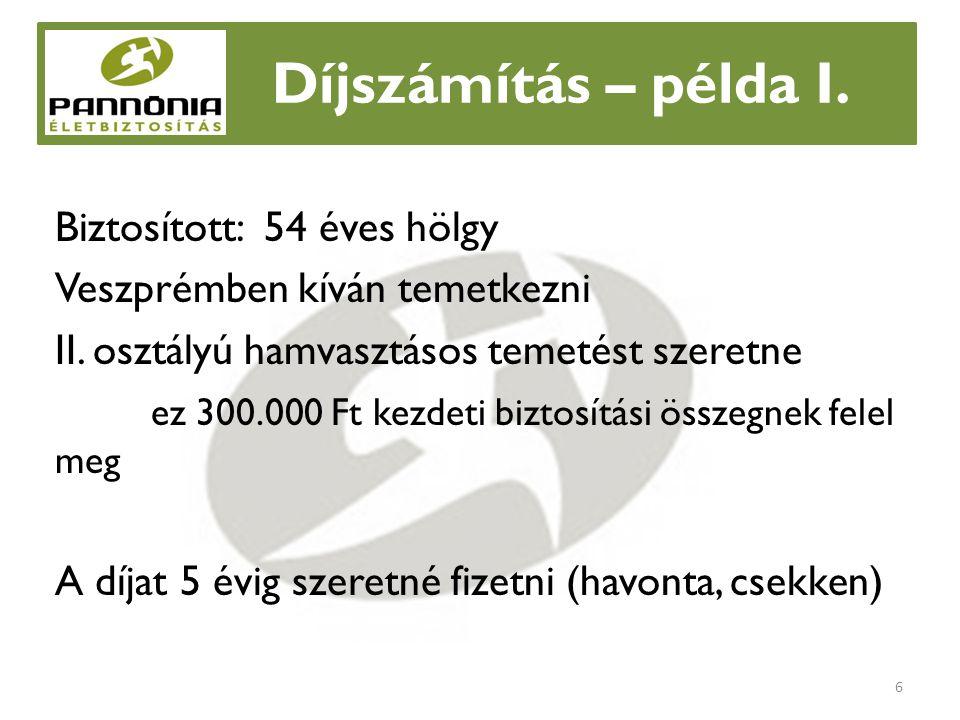 Díjszámítás – példa I. Biztosított: 54 éves hölgy Veszprémben kíván temetkezni II.