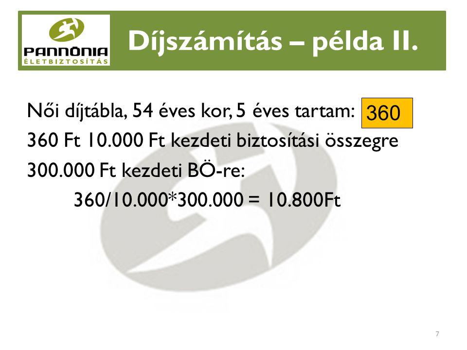 Díjszámítás - kifogáskezelés Ha csak havonta 8.000 Ft-ot tud félre tenni Javasoljunk hosszabb díjfizetési tartamot (7év) 256/10.000*300.000 = 7.680 Ft 8