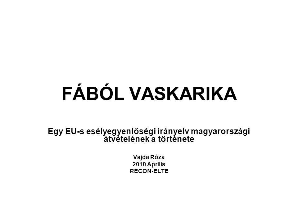 FÁBÓL VASKARIKA Egy EU-s esélyegyenlőségi irányelv magyarországi átvételének a története Vajda Róza 2010 Április RECON-ELTE