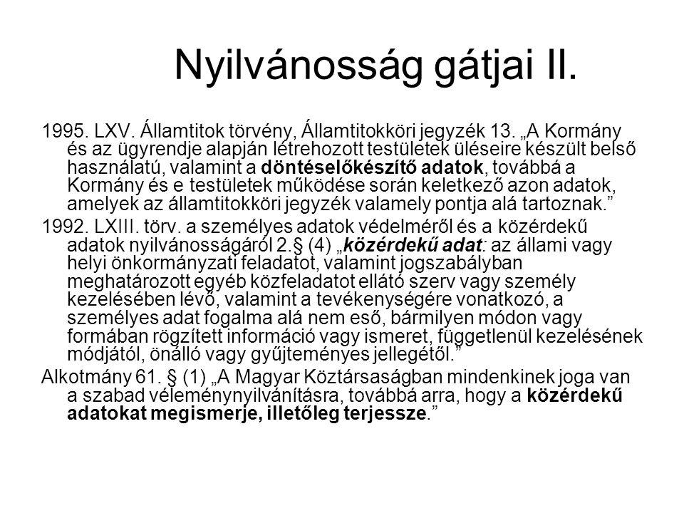 Nyilvánosság gátjai II.1995. LXV. Államtitok törvény, Államtitokköri jegyzék 13.
