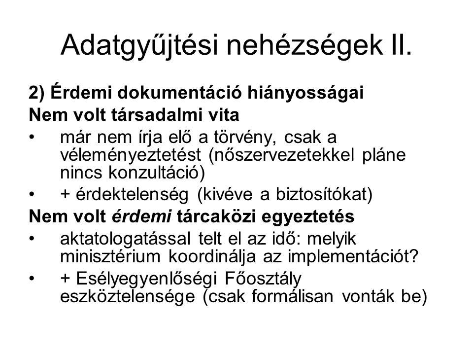 Adatgyűjtési nehézségek II.