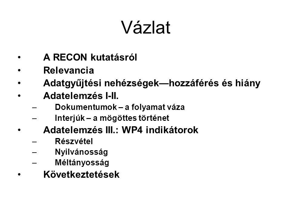 Vázlat •A RECON kutatásról •Relevancia •Adatgyűjtési nehézségek—hozzáférés és hiány •Adatelemzés I-II.