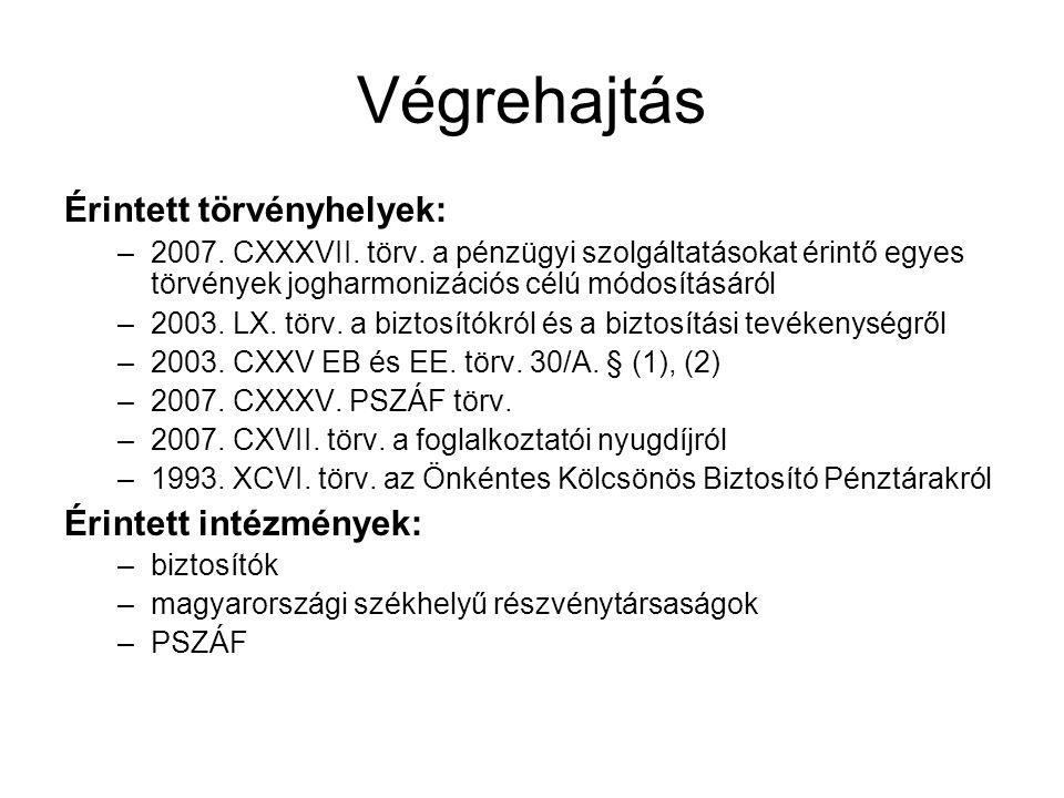 Végrehajtás Érintett törvényhelyek: –2007.CXXXVII.