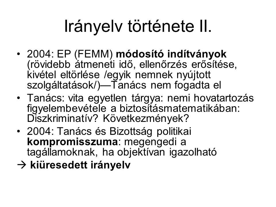 Irányelv története II.