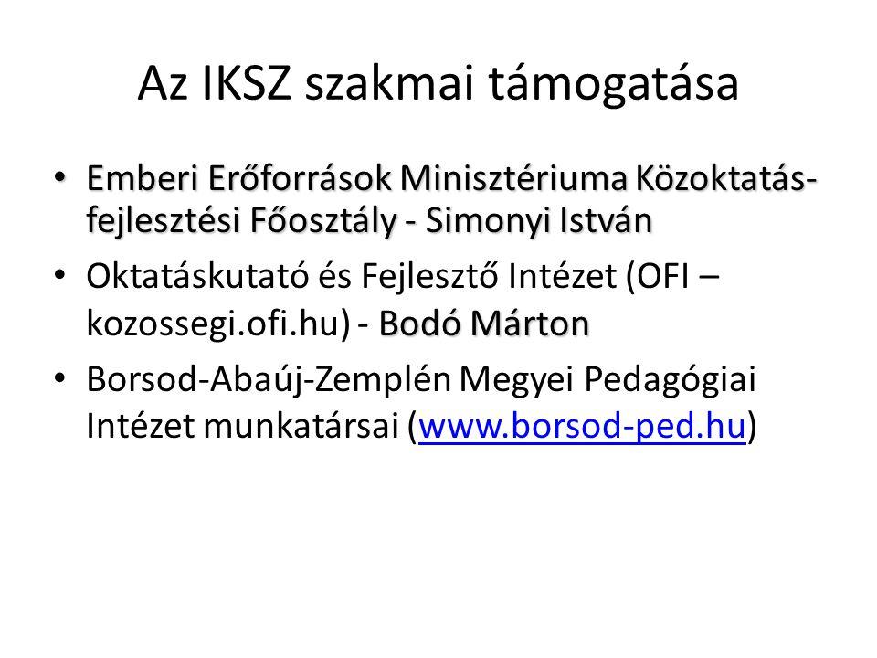 Az IKSZ szakmai támogatása • Emberi Erőforrások Minisztériuma Közoktatás- fejlesztési Főosztály - Simonyi István Bodó Márton • Oktatáskutató és Fejlesztő Intézet (OFI – kozossegi.ofi.hu) - Bodó Márton • Borsod-Abaúj-Zemplén Megyei Pedagógiai Intézet munkatársai (www.borsod-ped.hu)www.borsod-ped.hu