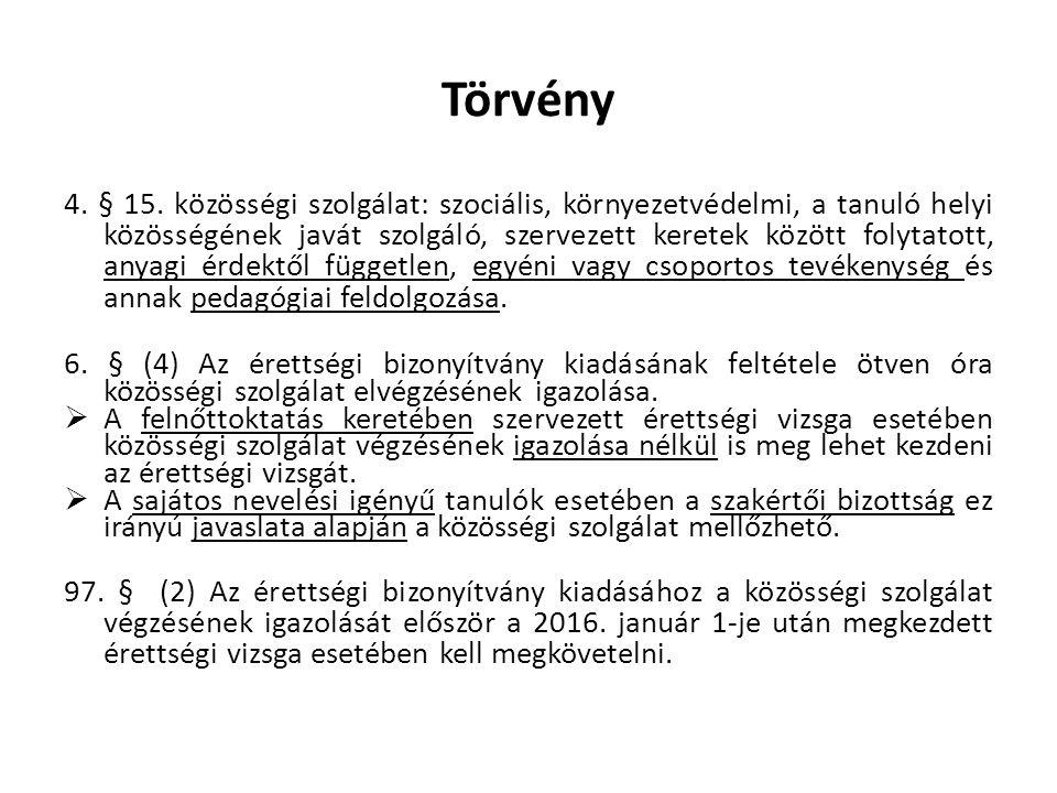 Törvény 4. § 15. közösségi szolgálat: szociális, környezetvédelmi, a tanuló helyi közösségének javát szolgáló, szervezett keretek között folytatott, a