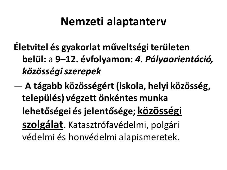 Nemzeti alaptanterv Életvitel és gyakorlat műveltségi területen belül: a 9–12.
