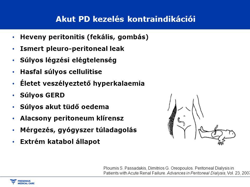 Akut PD kezelés kontraindikációi • Heveny peritonitis (fekális, gombás) • Ismert pleuro-peritoneal leak • Súlyos légzési elégtelenség • Hasfal súlyos