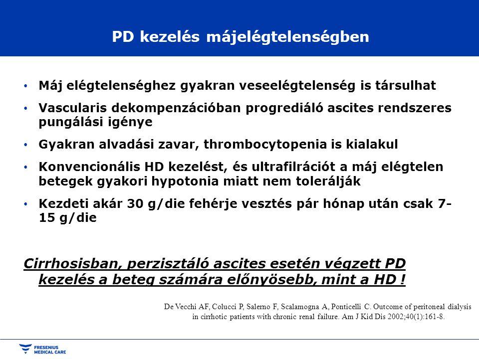 PD kezelés májelégtelenségben • Máj elégtelenséghez gyakran veseelégtelenség is társulhat • Vascularis dekompenzációban progrediáló ascites rendszeres