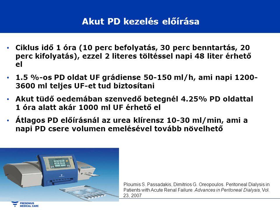 Akut PD kezelés előírása • Ciklus idő 1 óra (10 perc befolyatás, 30 perc benntartás, 20 perc kifolyatás), ezzel 2 literes töltéssel napi 48 liter érhe