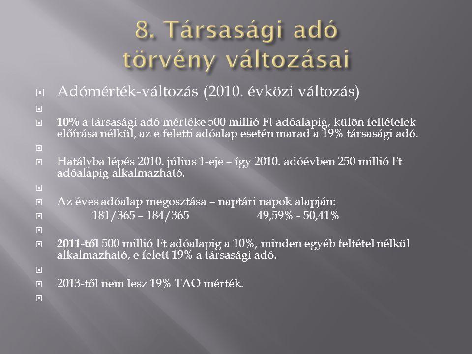  Adómérték-változás (2010. évközi változás)   10% a társasági adó mértéke 500 millió Ft adóalapig, külön feltételek előírása nélkül, az e feletti a