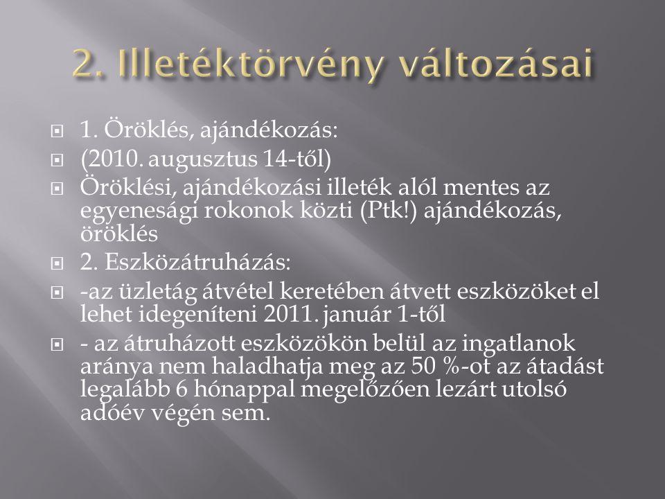  1. Öröklés, ajándékozás:  (2010. augusztus 14-től)  Öröklési, ajándékozási illeték alól mentes az egyenesági rokonok közti (Ptk!) ajándékozás, örö