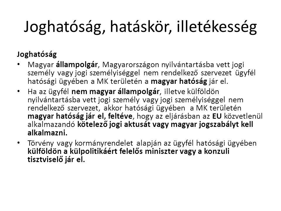 Joghatóság, hatáskör, illetékesség Joghatóság • Magyar állampolgár, Magyarországon nyilvántartásba vett jogi személy vagy jogi személyiséggel nem rend