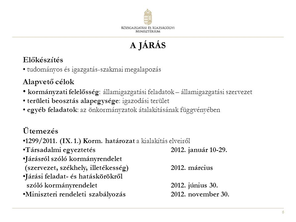 6 A JÁRÁS Előkészítés • tudományos és igazgatás-szakmai megalapozás Alapvető célok • kormányzati felelősség: államigazgatási feladatok – államigazgatási szervezet • területi beosztás alapegysége: igazodási terület • egyéb feladatok: az önkormányzatok átalakításának függvényében Ütemezés • 1299/2011.