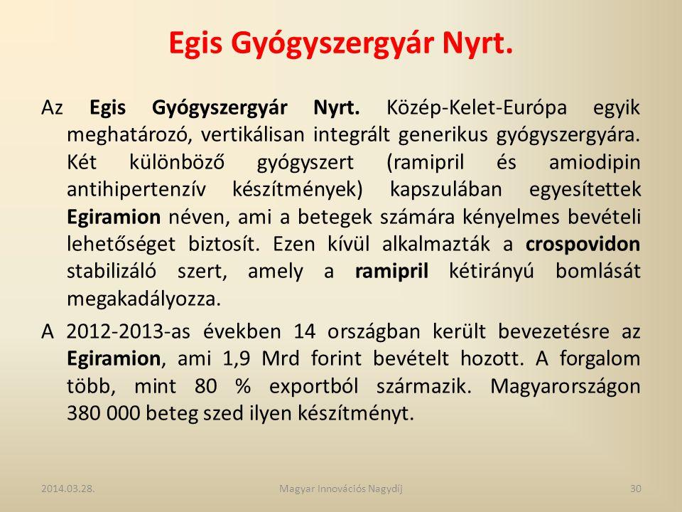 Egis Gyógyszergyár Nyrt. Az Egis Gyógyszergyár Nyrt. Közép-Kelet-Európa egyik meghatározó, vertikálisan integrált generikus gyógyszergyára. Két különb
