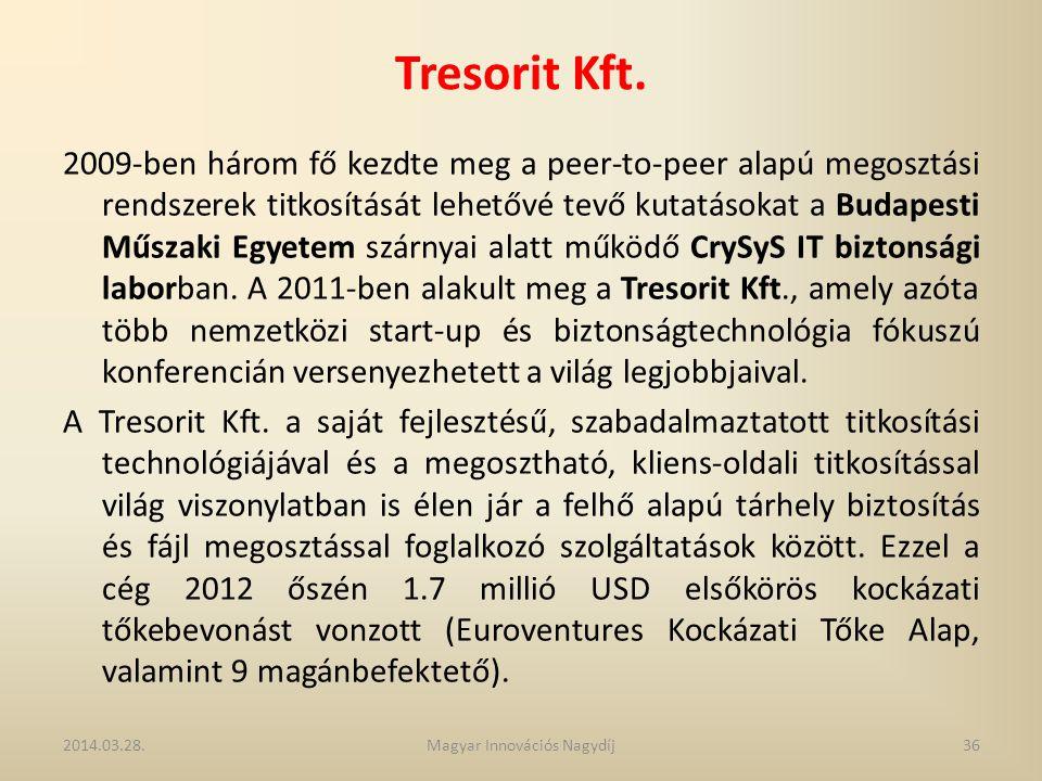 Tresorit Kft. 2009-ben három fő kezdte meg a peer-to-peer alapú megosztási rendszerek titkosítását lehetővé tevő kutatásokat a Budapesti Műszaki Egyet