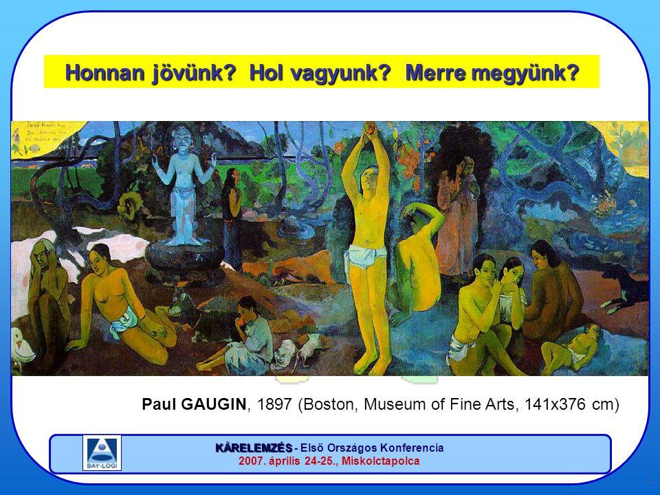 KÁRELEMZÉS KÁRELEMZÉS - Első Országos Konferencia 2007. április 24-25., Miskolctapolca 2 Honnan jövünk? Hol vagyunk? Merre megyünk? Paul GAUGIN, 1897