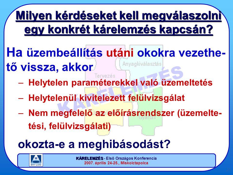 KÁRELEMZÉS KÁRELEMZÉS - Első Országos Konferencia 2007. április 24-25., Miskolctapolca 20 Milyen kérdéseket kell megválaszolni egy konkrét kárelemzés