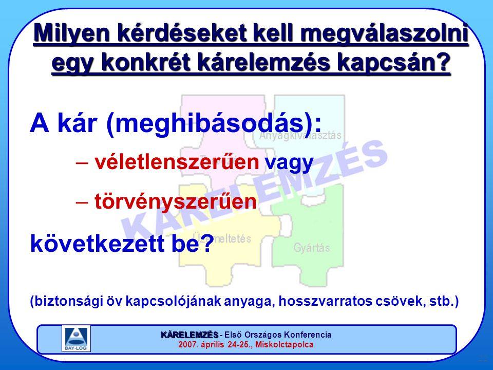 KÁRELEMZÉS KÁRELEMZÉS - Első Országos Konferencia 2007. április 24-25., Miskolctapolca 22 Milyen kérdéseket kell megválaszolni egy konkrét kárelemzés