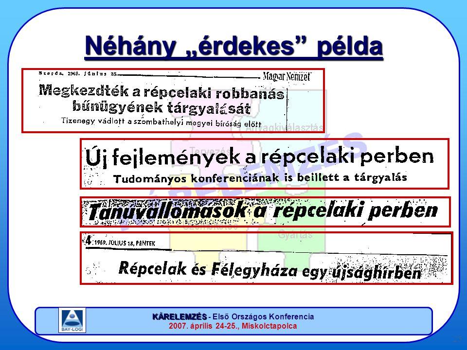 """KÁRELEMZÉS KÁRELEMZÉS - Első Országos Konferencia 2007. április 24-25., Miskolctapolca 25 Néhány """"érdekes"""" példa"""