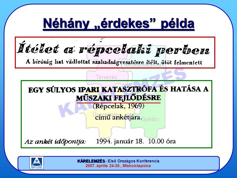 """KÁRELEMZÉS KÁRELEMZÉS - Első Országos Konferencia 2007. április 24-25., Miskolctapolca 26 Néhány """"érdekes"""" példa"""