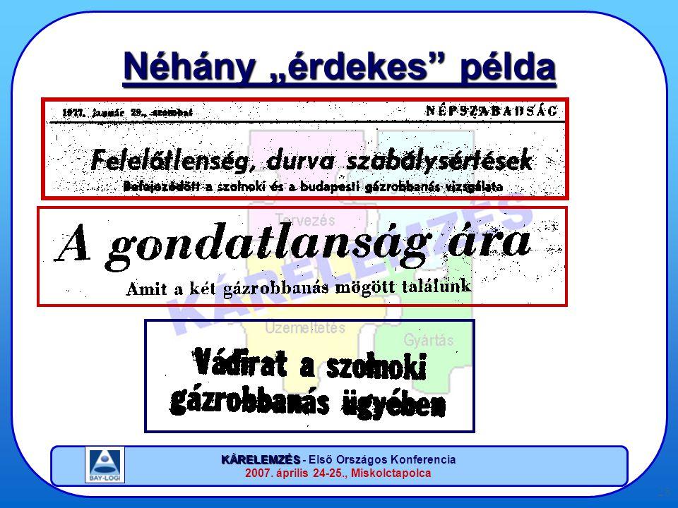"""KÁRELEMZÉS KÁRELEMZÉS - Első Országos Konferencia 2007. április 24-25., Miskolctapolca 28 Néhány """"érdekes"""" példa"""